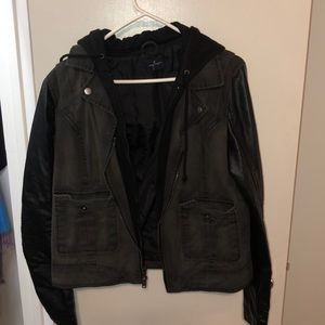 Black American Eagle Denim/Leather Jacket